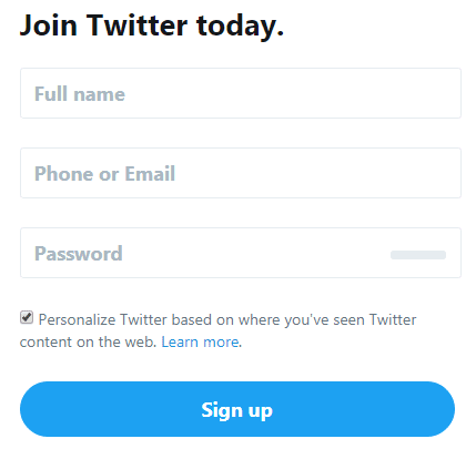 create twitter account without phone number verification
