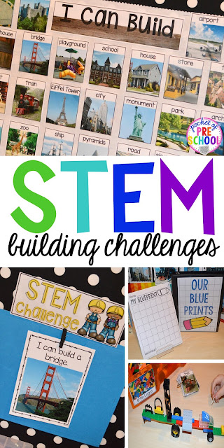 STEM building challenges for preschool, pre-k, kindergarten, and first grade. Simple, easy to implement STEM activities even if you have a small classroom.