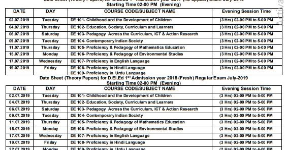 HBSE D Ed  Date Sheet 2019 Admit Card for Re-Appear & Mercy Chance