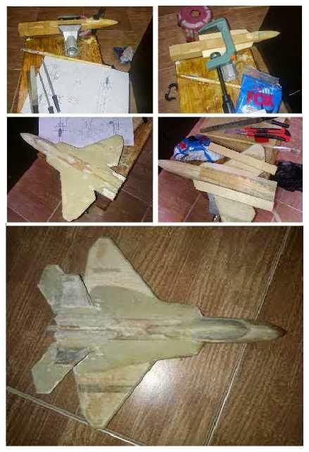cara membuat miniatur pesawat f22 dari kayu