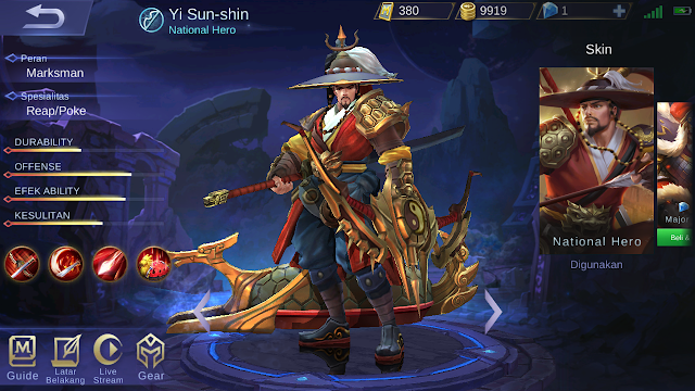 build yi sun shin mobile legends terbaru 2018