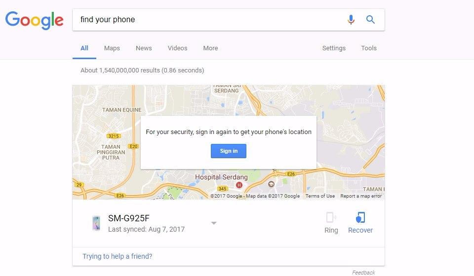 Cari telefon hilang guna gps