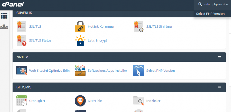 cpanel, cpanel php ayarları, cpanel select php ayarları, select php version ayarları