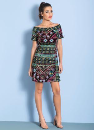 Moda Vestido com Decote Ombro a Ombro Étnica e Preto