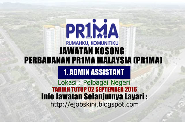 jawatan kosong di perbadanan pr1ma malaysia september 2016