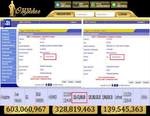 Selamat Kepada Member Setia Ompoker WD Rp 125.472.000