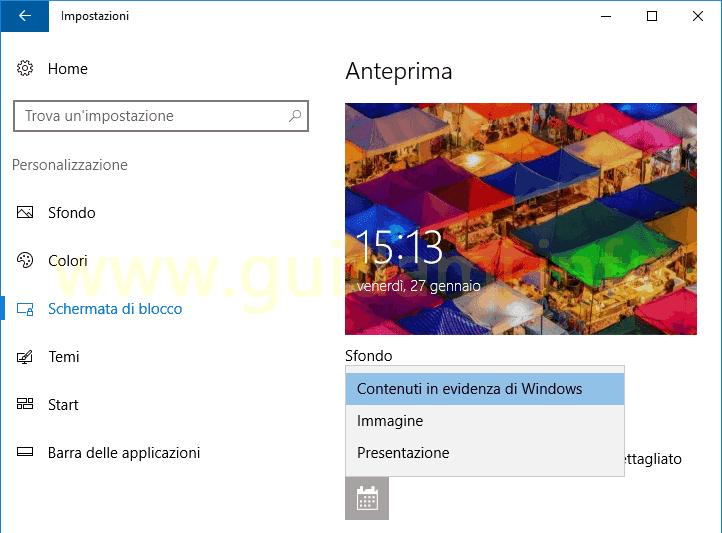 Sfondi blocco schermo windows 10