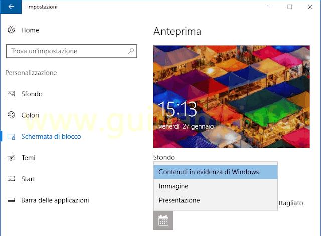 Impostazioni Windows 10 Schermata di blocco Contenuti in evidenza