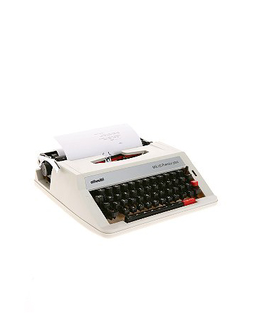 This typewriter makes a great decor piece for a 60s inspired space.