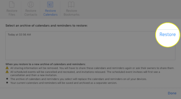 طريقة استرجاع التقويمات والتذكيرات من الايكلاود iCloud