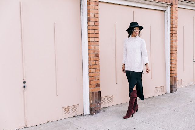 Pancake Stacker wearing J.Jill Sweater,  H&M hat, Grana silk slip dress, and OTK boots