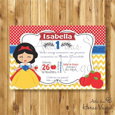 convite digital aniversário infantil personalizado artesanal festa 1 aninho chá de bebê fraldas branca de neve e os 7 anões princesas disney snow white princepe encantado floresta maçã bruxa menina amarelo azul e vermelho