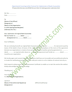 covering letter format for submission of bank guarantee