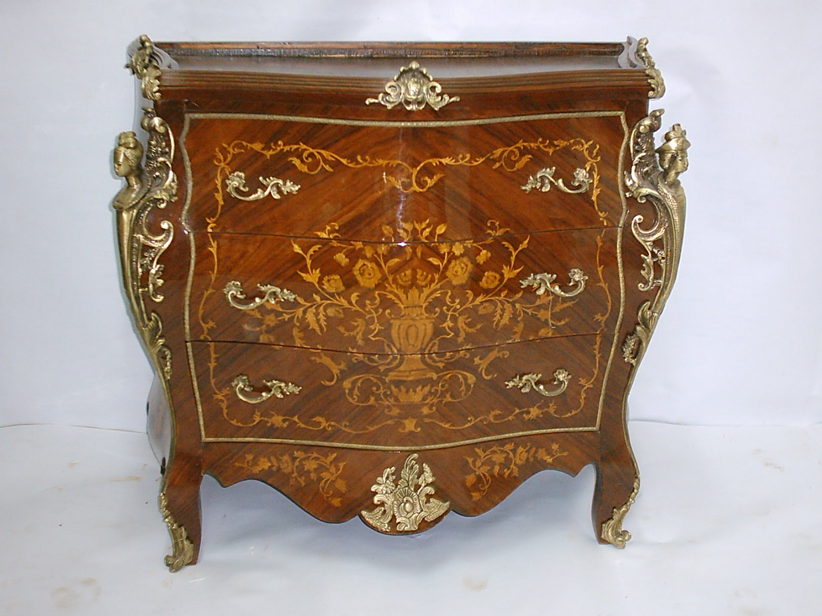 French Antique Louis Xv Style Marquetry Commodes With Marble Top 120cm