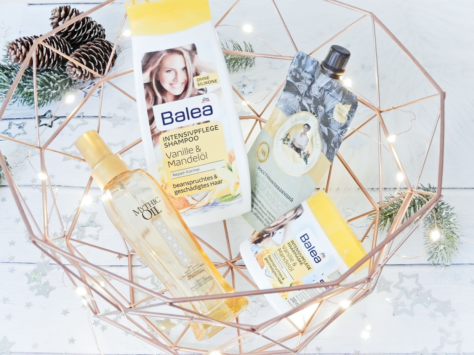 Balea Shampoo Intensivpflege z wanilią i olejkiem migdałowym, Balea Haarmaske Intensivpflege mit Vanille Duft & Mandelöl, Bania Agafii - balsam do włosów - odżywczo - regeneracyjny,L'Oreal Mythic Oil,