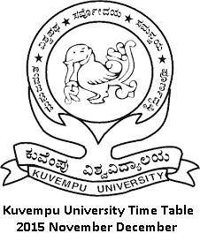 Kuvempu University Time Table 2016 November December
