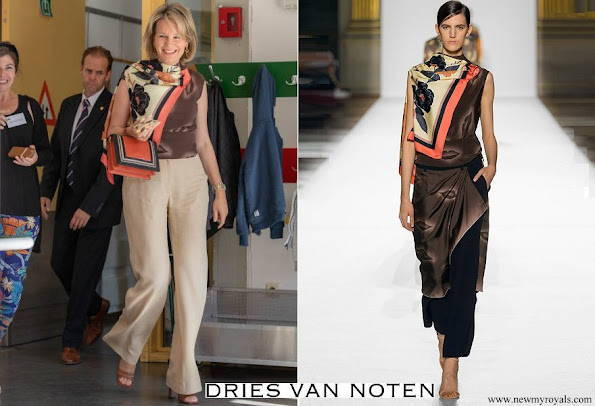 Queen Mathilde wore Dries Van Noten Blouse from Spring Summer 2018 collection