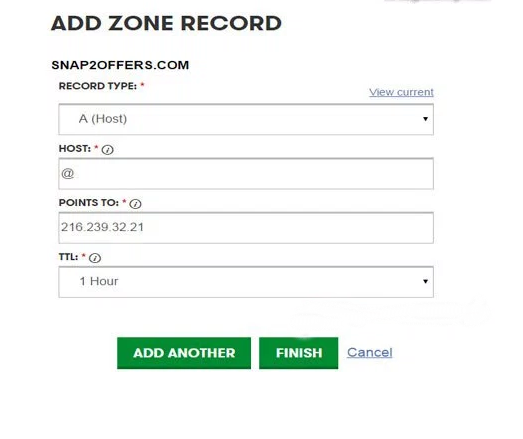 add zone record on godaddy