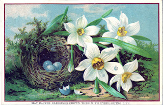 Easter, egg, daffodils, vintage, the graphics fairy, April, May, spring