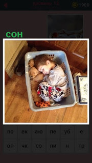 в корзине для белья уснул ребенок и видит третий сон
