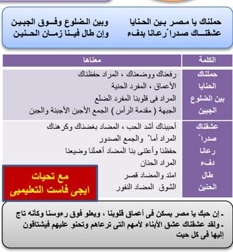 معاني الكلمات لدرس نص عشقناك يامصر الجديد الاول الاعدادى