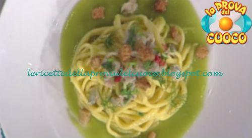 Ricetta degli Spaghetti alla chitarra con doppie vongole crema di asparagi e pane da La Prova del Cuoco
