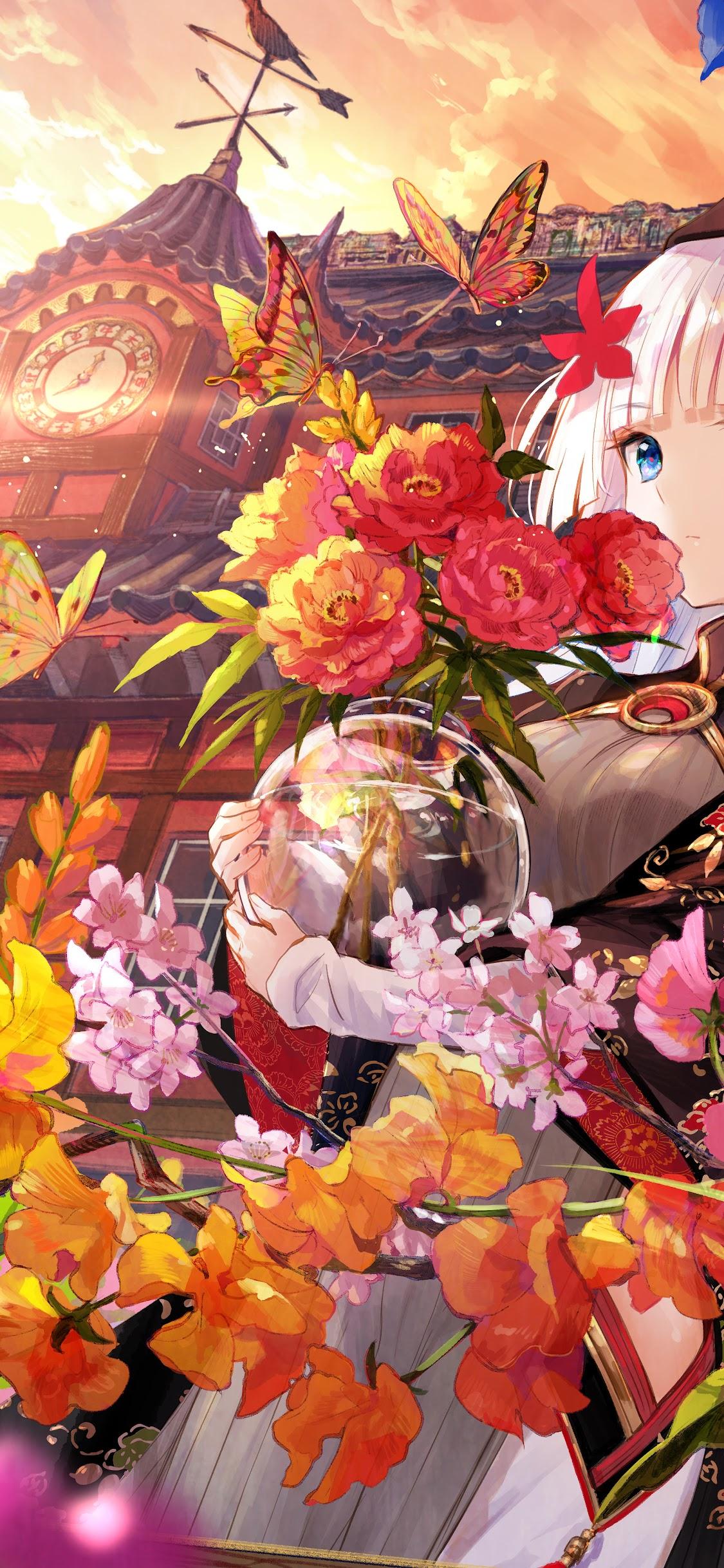 Anime Girl Butterfly Beautiful Flowers 8k Wallpaper 129