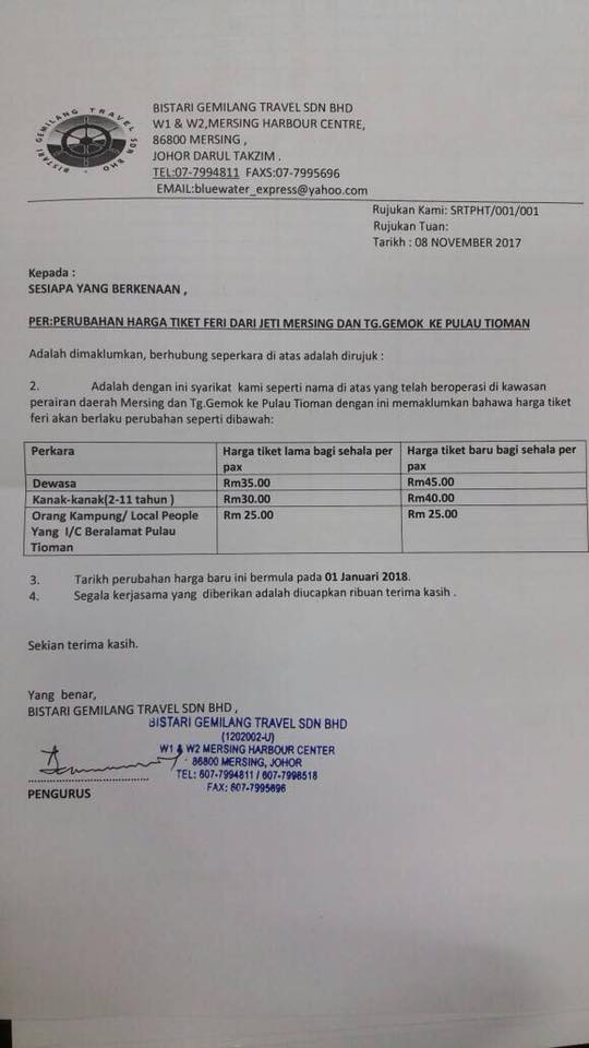 Harga Tiket Feri Dari Jeti Mersing dan TG. Gemok ke Pulau Tioman