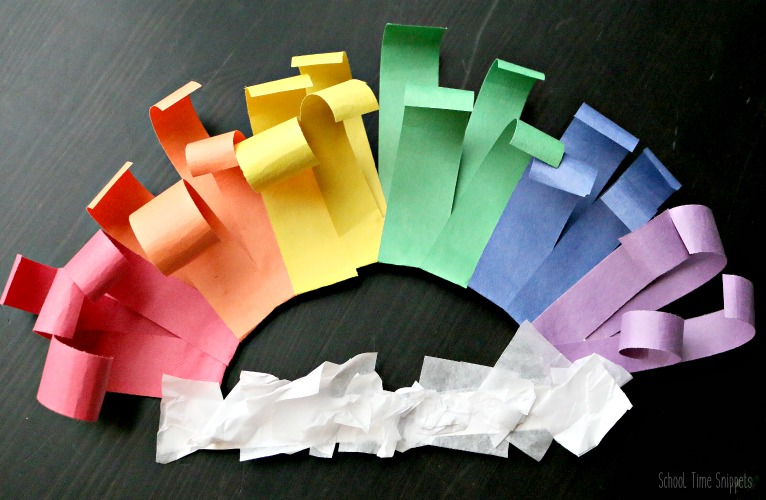rainbow craft using rolled paper