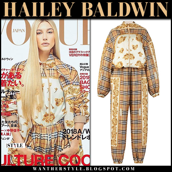 Hailey Baldwin in yellow check and floral jumpsuit burberry vogue cover japan 2018