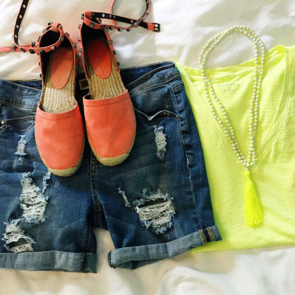 neon tassel necklace, distressed denim