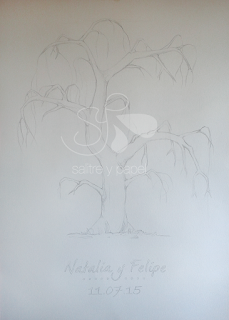 dibujo árbol de huellas