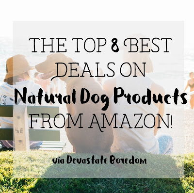 List of the best frugal and all-natural dog products available on Amazon -- cheap and affordable organic dog chews, bully sticks, antlers, treats, dog food, biodegradable poop bags, shampoo and grooming, toys, kennels and beds and more!  Perfect list for a new puppy owner -- what you need to buy! via Devastate Boredom