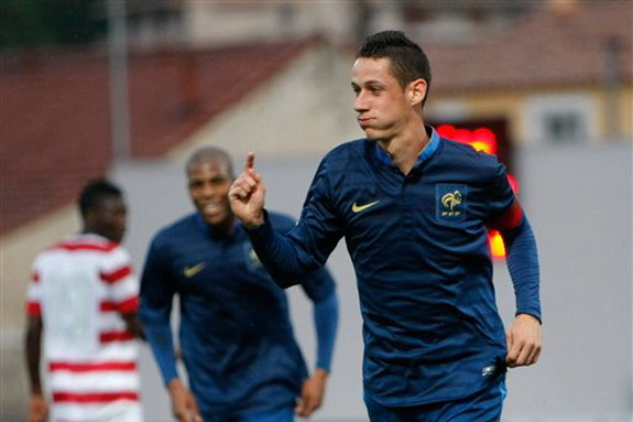 France U-21 captain Alexandre Coeff celebrates after scoring the opening goal against the USA U-21