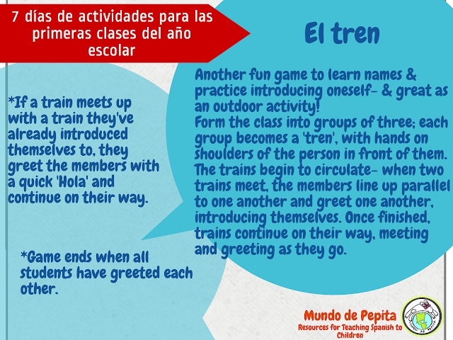 Activities for Back to School in Elementary Spanish Classes