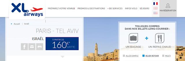 Promo billets Tel Aviv 160 euros, voyage aller retour