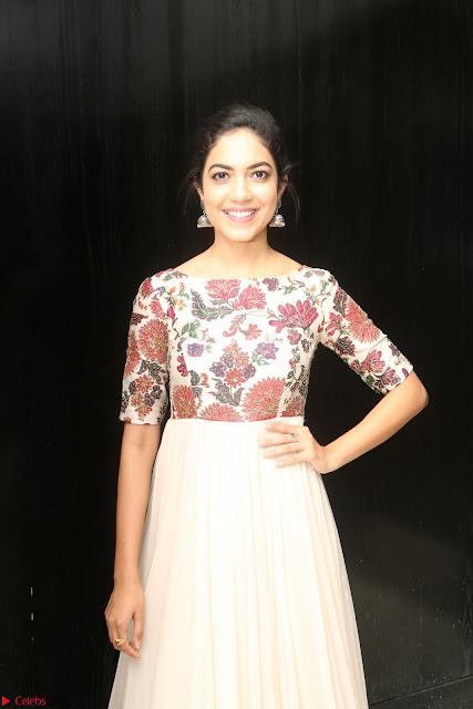 Ritu Varma smiling face Cream Anarkali dress at launch of OPPO New Selfie Camera F3 ~  Exclusive 004.JPG