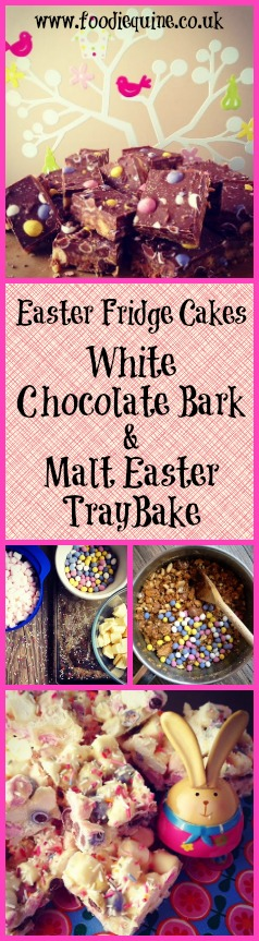 www.foodiequine.co.uk Easter Traybake Fridge Cake Recipes. White Chocolate Easter Bark and Malt-Easter Tray Bake with Mini Eggs and Maltesers. Use up those leftover Easter Eggs and Chocolate