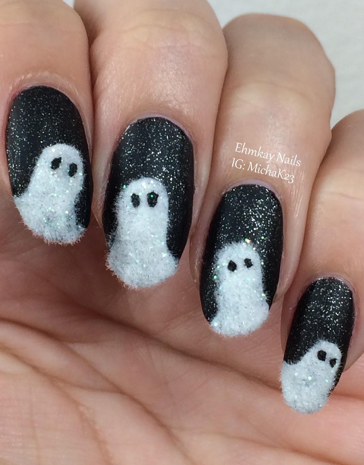 Ehmkay Nails Fuzzy Ghost Halloween Nail Art