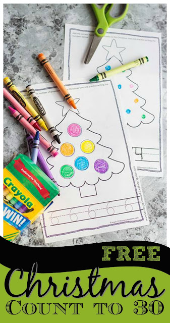 This super cute, free printable Christmas counting book is a great way for preschool, pre-k, kindergarten, and first grade students to practice counting from 1-30 with a fun holiday theme. They will add the correct number of ornaments to the tree and trace numbers at the bottom of each page. Download pdf file with  Christmas counting book printable free to make practicing Christmas counting fun during December.
