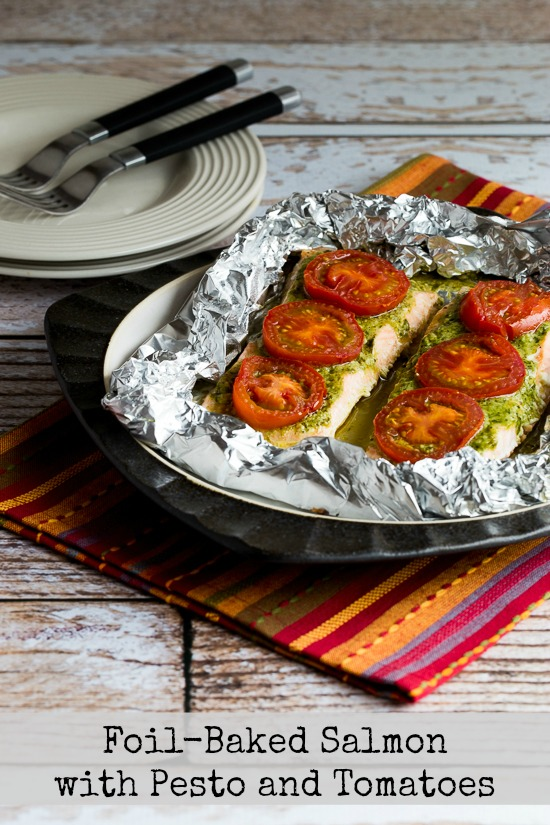 Foil-Baked Salmon with Basil Pesto and Tomatoes found on KalynsKitchen.com