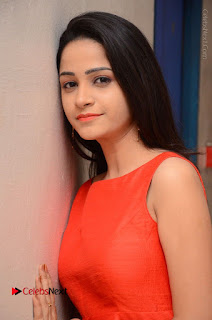 Telugu Actress Divya Nandini Stills in Orange Sleeveless Gown at Chennai Chaitrama Movie le Launch Event  0053.JPG
