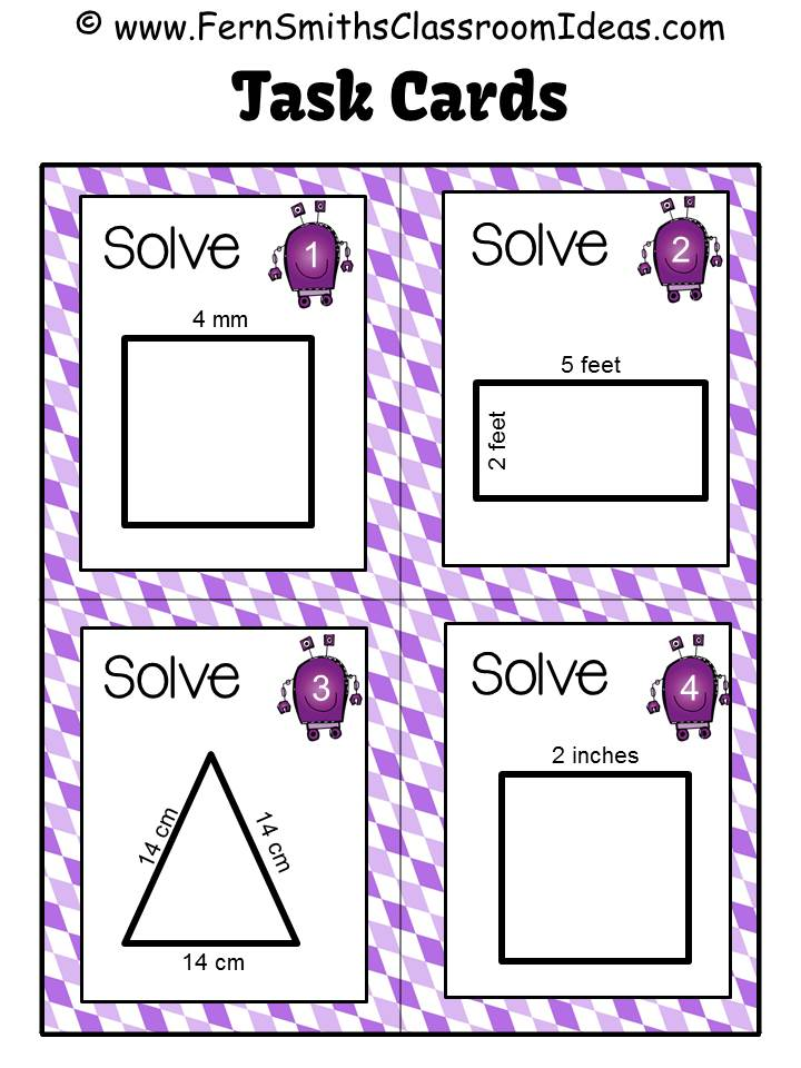 Fern Smith's Classroom Idea FREE Review with Perimeter Pete Task Cards