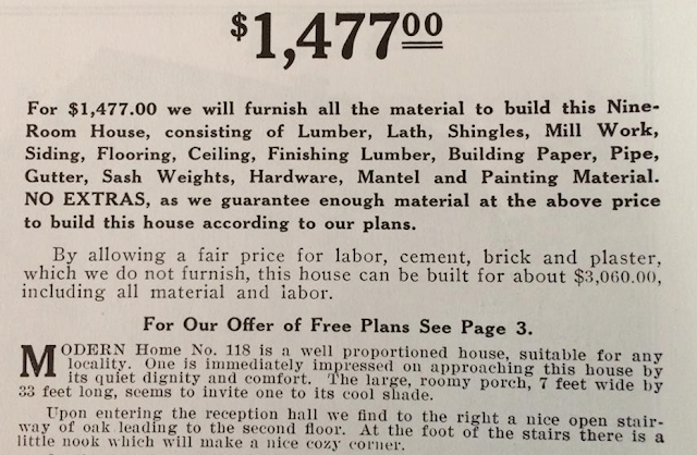$1,477.00 for the 1912 kit of Sears modern home No 118
