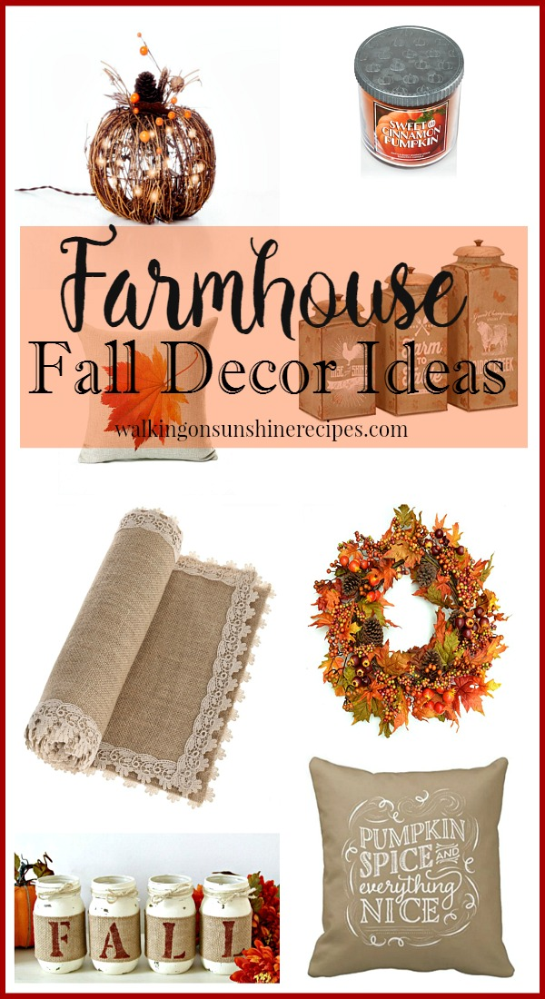 Farmhouse Fall Decor Ideas from Walking on Sunshine Recipes.
