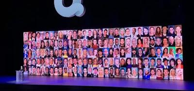 Telão na CES com os rostos dos talentos de Hollywood que fazem projetos para o Quibi