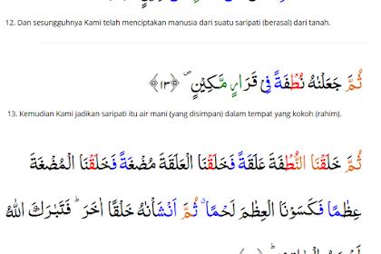 Isi Kandungan dan Perilaku Yang Tercermin Q.S Al Mu'minun Ayat 12 - 14