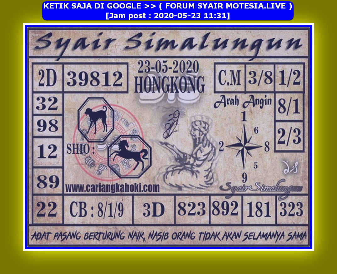 Kode syair Hongkong Sabtu 23 Mei 2020 116