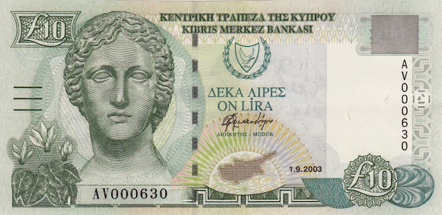 Cyprus money currency banknotes collection 10 Cypriot pounds Artemis