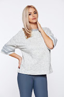 Bluza dama Adidas gri sport cu maneci trei-sferturi cu croi larg
